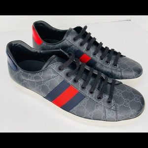 Gucci mens New Ace Webbed Low Top Sneaker 10 UK
